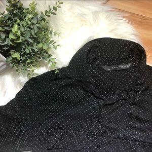 ZARA Women XS Black White Polkadot Button-down Top